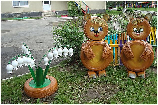 Поделки из шин в саду своими руками фото